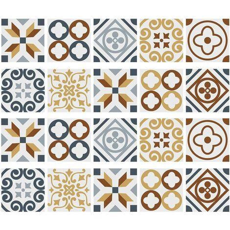 "main image of ""Adhesive Wall Tile 20PCS Self Adhesive Tile 3D Mosaic Tile Waterproof Adhesive Cement Tiles Bonding DIY Tiles for Bathroom Floor Style D 15x15 M"""