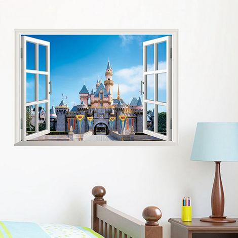 Adhesivo de pared 3D Castillo de pared Paisaje Decoración de ventana Deco-adhesivo Adhesivo LAVENTE