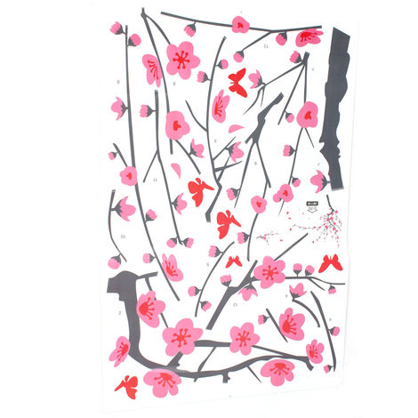 Adhesivo de pared árbol flor murales adhesivo pared dormitorio sala diseño decoración