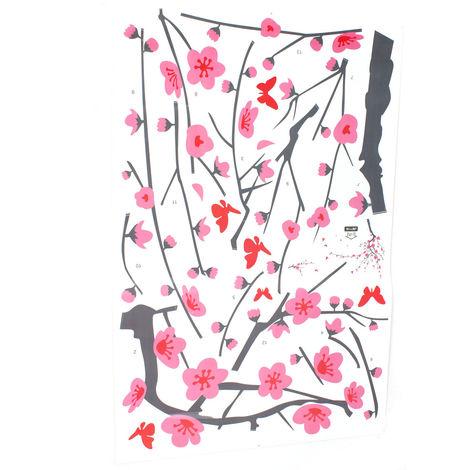 Adhesivo de pared árbol flor murales adhesivo pared dormitorio sala diseño decoración Sasicare