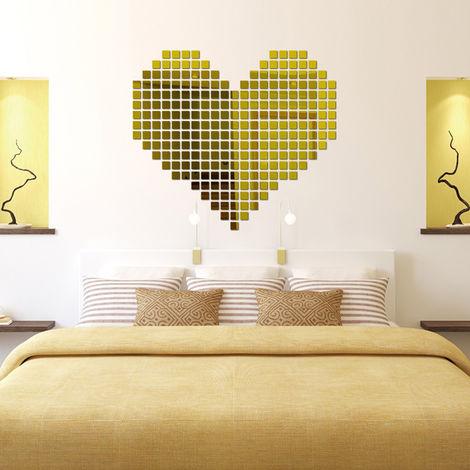 Adhesivo de pared con espejo tridimensional de cristal cuadrado, dorado,100PCS