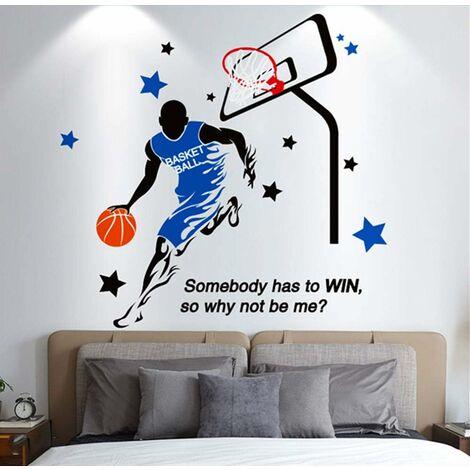 Adhesivo de pared, pegatina de pared para jugar al baloncesto como decoración de pared para dormitorio, sala de estar, habitación de niños, decoración de arte DIY, pegatinas de pared de Murale, 110 × 115 cm