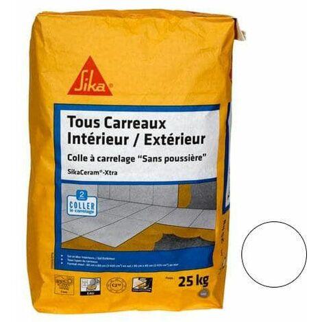 Adhesivo para azulejos y baldosas, interior y exterior (C2-ET) - SIKA SikaCeram Xtra - Blanco - 25kg - Blanc