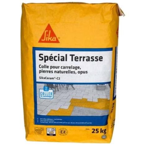 Adhesivo para baldosas de terrazas interiores y exteriores (C2) - SIKA SikaCeram C2 - Gris - 25kg