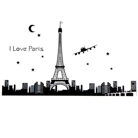 Adhesivo removible Fluorescente Torre Eiffel Decoración Mural Adhesivos de Pared LAVENTE
