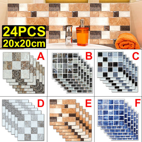 Adhesivos antideslizantes impermeables para pasta de azulejos creativos, adhesivos para decoración de la pared del piso del baño de la cocina (tipo D 6PCS)