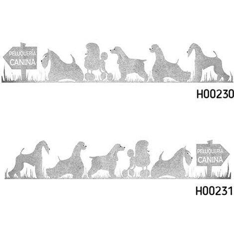 Adhesivos grandes. Efecto cristal grabado, gran tamaño, para escaparates de peluquería canina, diferentes opciones a elegir