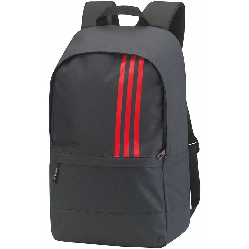 Image of 3 Stripes Small Backpack (One Size) (Dark Grey/ Scarlet) - Adidas