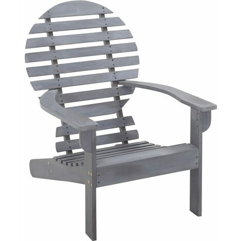 Adirondack Chair Solid Acacia Wood Grey