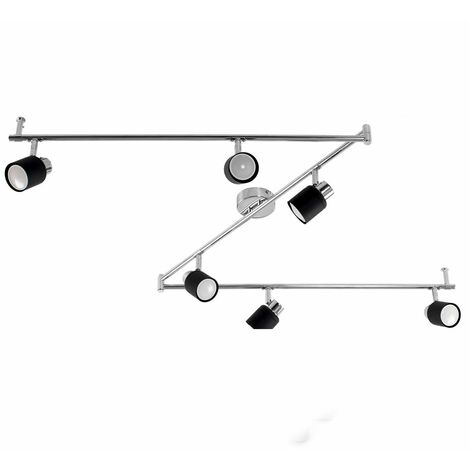Adjustable 6 Way Z-Bar Chrome & Matt Black Ceiling Spotlight + 6 x Gu10 Cool White LED Bulbs