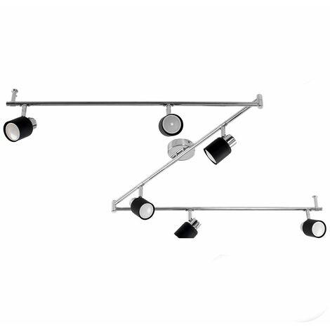 Adjustable 6 Way Z-Bar Chrome & Matt Black Ceiling Spotlight + 6 x Gu10 Warm White LED Bulbs