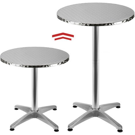 Adjustable Aluminium Bistro Table Round Garden Side Table made of Stainless steel with adjustable height 65-115cm