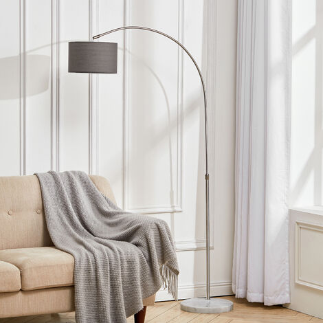Adjustable Arched Floor Lamp with Marble Base Cloth Lampshade 131-186cm,Beige
