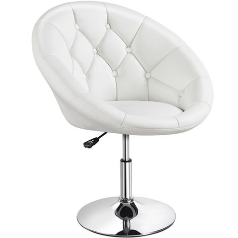 Adjustable Bar Stool Breakfast Dining Stool for Kitchen Swivel Faux Leather Counter Stool Round Bar Chair, White