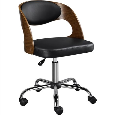"""main image of """"Adjustable Bar Stool Ergonomic Bar Chair Faux Leather with Solid Bentwood Back Soft Padded Seat for Home Bar Counter or Kitchen Black"""""""