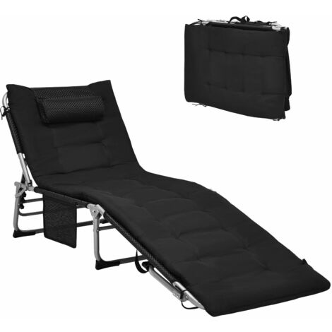 """main image of """"Adjustable Beach Chaise Lounger Deck Chair W/ Soft Mattress & Removable Pillow"""""""