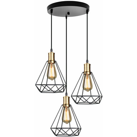 Adjustable Ceiling Pendant Light Vintage Industrial Diamond Lampshade Retro Cage Shape Hanging Light 3 Lights for Indoor Kitchen Dining Room E27 Base Black