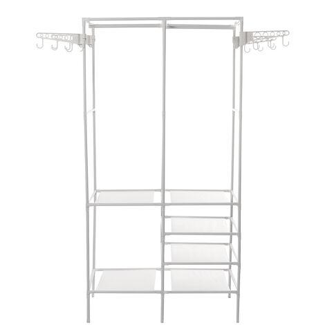 Adjustable Clothes Hanger Rack Standing Shoe Bench 174*44*86CM White