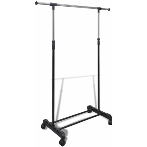 Adjustable Clothes Rack 4 Castors 1 Hanging Rail
