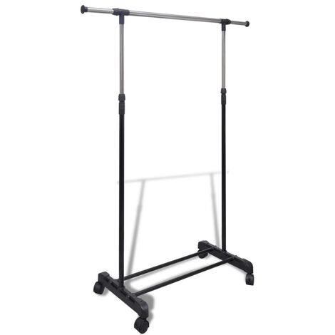Adjustable Clothes Rack 4 Castors 1 Hanging Rail - Black