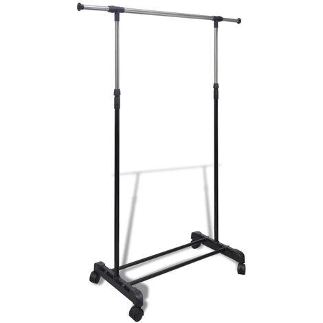 Adjustable Clothes Rack 4 Castors 1 Hanging Rail - Black