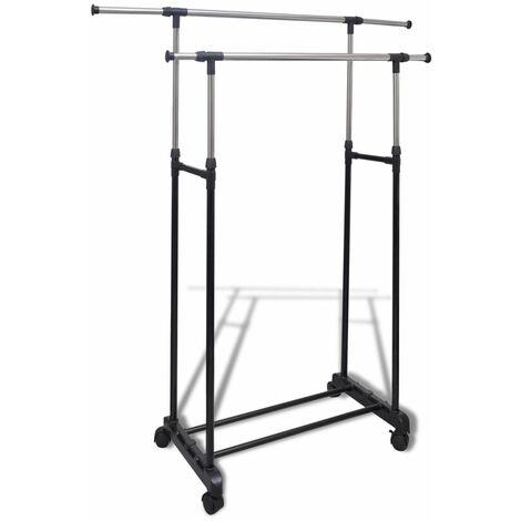Adjustable Clothes Rack 4 Castors 2 Hanging Rails