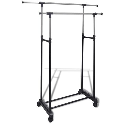Adjustable Clothes Rack 4 Castors 2 Hanging Rails - Black