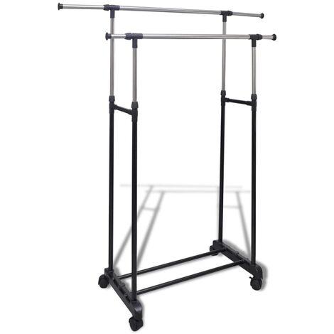 Adjustable Clothes Rack 4 Castors 2 Hanging Rails - Black