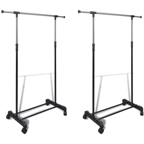 Adjustable Clothes Racks 2 pcs 1 Hanging Rail - Black