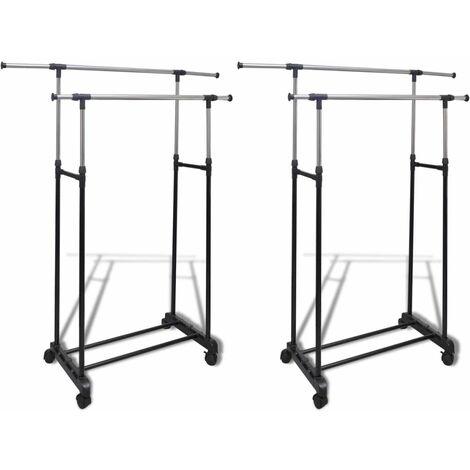 Adjustable Clothes Racks 2 pcs 2 Hanging Rails
