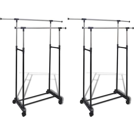 Adjustable Clothes Racks 2 pcs 2 Hanging Rails - Black