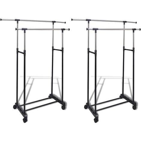 Adjustable Clothes Racks 2 pcs 2 Hanging Rails - Black