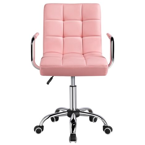 Adjustable Desk Chair Computer White Office Chair Adjustable and Swivel PU Leather Task Chair for Home Office Study