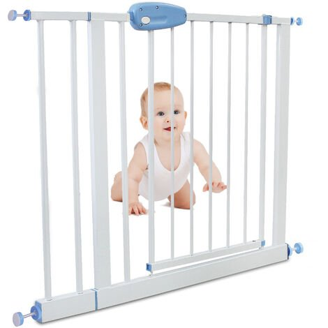Adjustable Door Gate, Baby Safety Gate, extension from 102 to 115 cm (40.1 to 45.2 inch), White, Width: 74-87 cm