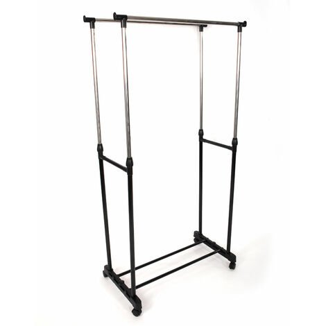 Adjustable Double Clothes Rail Mobile Hanging Stand Garment Shoe Rack Shelf