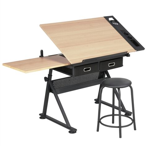 Adjustable Drawing Table with Tiltable Tabletop/2 Drawers/Stool- Drafting Table Artist Desk Computer Desk for Home and Office Use