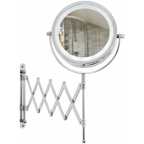 Adjustable & Extendable Round Chrome Battery Operated Bathroom Illuminated Vanity Mirror Light
