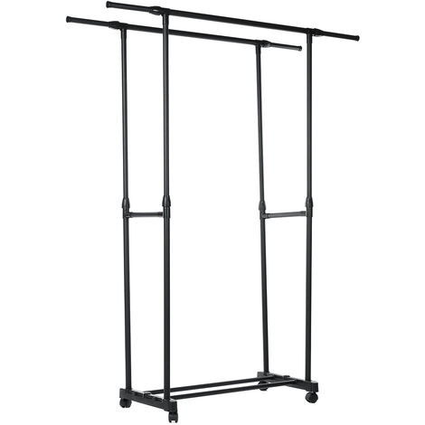 Adjustable & Extensible Double Clothes Hanger Coat Rack With Wheels Movable Racks