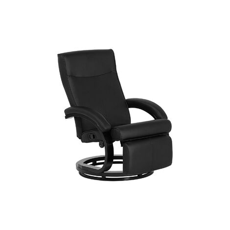 Adjustable Faux Leather Ergonomic Reclining Armchair Wooden Base Black PU Might