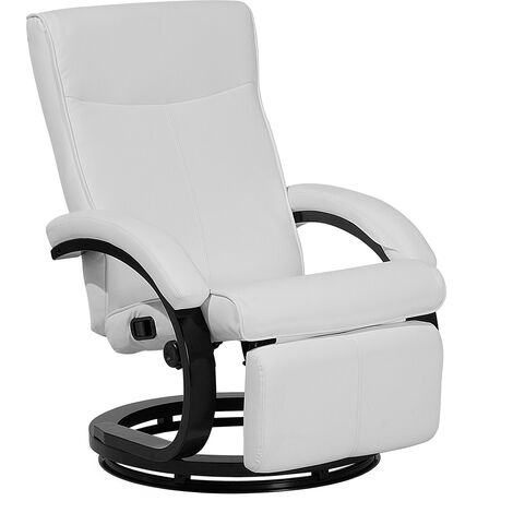 Adjustable Faux Leather Ergonomic Reclining Armchair Wooden Base White PU Might