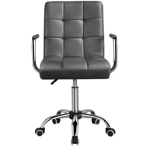 Adjustable Faux Leather Home Office Computer Desk Chairs Swivel Stool Chair on Wheels