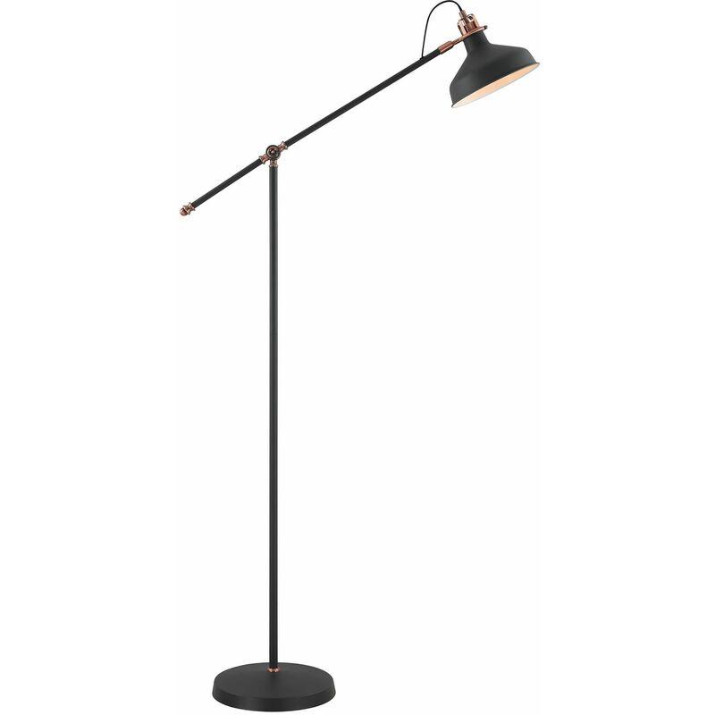 Image of 13-luminaire Center - Adjustable Floor Lamp Acid 1 Bulb Sanded Black 82 Cm