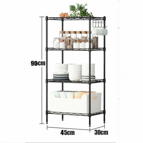 "main image of ""Adjustable Garage Shelf Steel Metal Shelf Home Living Decor Book Shelf Rack Organization (Black, 4 Tier 45X30x90cm)"""