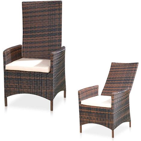 Adjustable Garden Relax Chair Brown Polyrattan Garden Furniture Balcony Seating Furniture