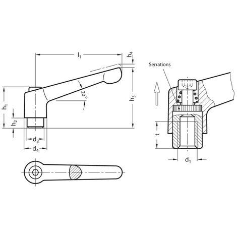 Ganter Gn300-45-M4-Sw Adj/' Hand Lever; Black Female