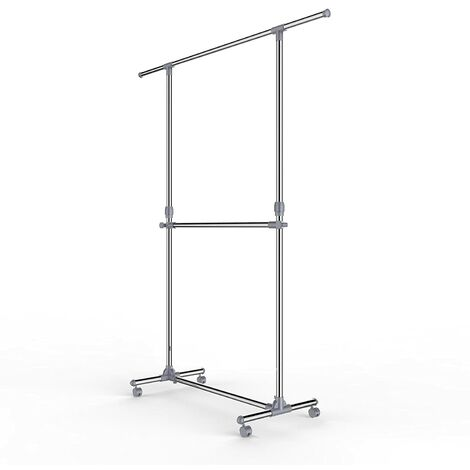 Adjustable Height Garment Rack Clothes Hanging Rail Stand with Middle Rail - Stainless Steel Clad Pipe LLR401