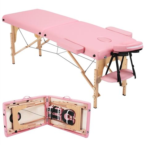 Adjustable Massage Bed 2 Sections Folding Massage Couch Portable Spa Table with Headrest/Armrest/Hand Pallet Adjustable Salon Bed Face Cradle Bed Pink