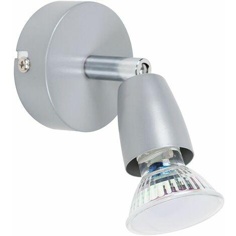 Adjustable Matt Silver GU10 Wall Spotlight Cool White