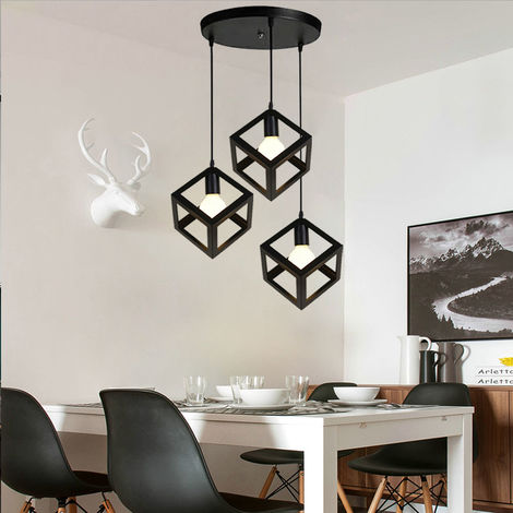 Adjustable Metal Pendant Light Square Lamp Shade 3 Lights Industrial Drop light Chandelier E27 Bulb (Black)