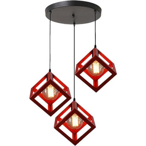 Adjustable Metal Pendant Light Square Lamp Shade 3 Lights Industrial Drop light Chandelier E27 Bulb (Red)